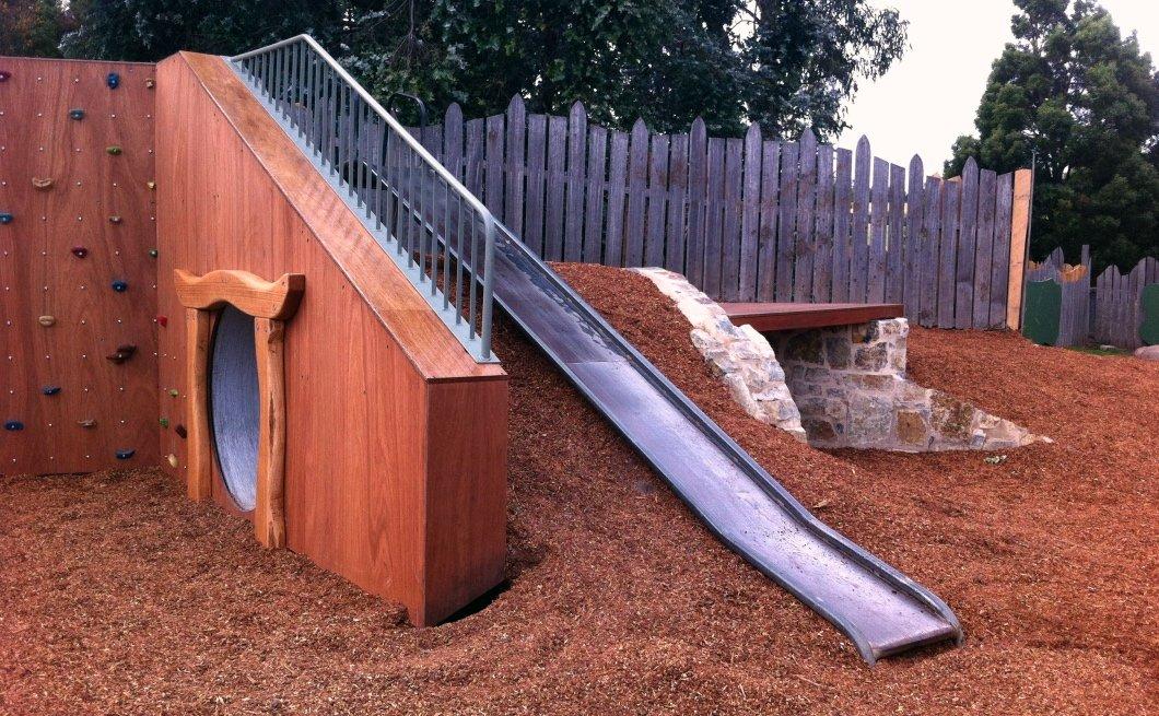 Slippery slide, tunnel, climbing wall